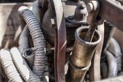 Details einer alten Feuerlöschermaschine auf einem Gericht in Cserna Lizenzfreies Stockbild