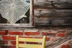 Details eines alten Holzhauses Stockbild