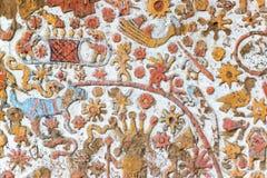 Details eines alten Wandgemäldes in Peru Lizenzfreies Stockfoto