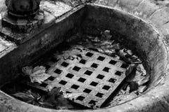 Details eines Brunnens im auntumn Schwarzweißaufnahme lizenzfreie stockfotos