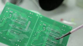 Details of Electronic Chips and Soldering stock video footage