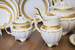 Details of elegant white  tableware. milk vessels Stock Images