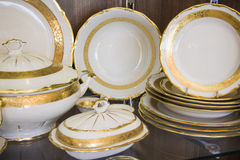 Details of elegant white  tableware. Plates Stock Photography