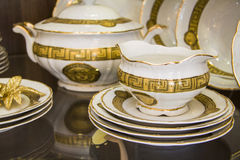 Details of elegant white  tableware. Plates and vessels Royalty Free Stock Photo