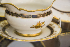 Details of elegant white  tableware Stock Photography