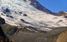 Details of the Emmons glacier with moraines. Mount Rainier National Park stock photos