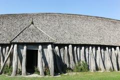 Details en hoofdingang van het huis van Viking in Hobro stock afbeeldingen