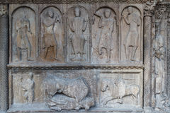 Details of the entrance portal of the medieval church in Ripoll Royalty Free Stock Image