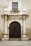 Details and entry way of an ancient church in historical Merida Mexico Stock Image