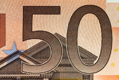 Details of a 50 euros banknote!! Stock Image