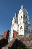 Details of the exterior modern church  in small town near Braslaw, Belarus shot in perspectives Stock Photography