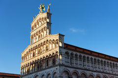 Details of the facade of Church San Michele in Foro Saint Michael in Lucca, Italy. Stock Image