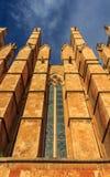 Facade with gargoyles of the Cathedral of Santa Maria of Palma royalty free stock photo