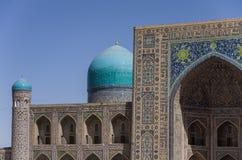 Details of facade mosaic of Madrasah Tilla-Kari on Registan squa Royalty Free Stock Photography