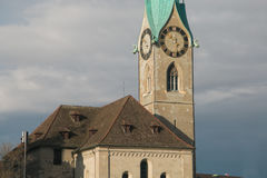 Details of the famous Fraumunster church tower of Zurich Stock Image