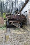 Details of farm wagon. With manure in autumn stock photos