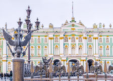 Details fence decorations with the Russian imperial double-heade Royalty Free Stock Images