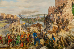 Details of the final assault of Constantinople. Details of the final assault and the fall of Constantinople in 1453.  painting in Askeri Museum, Istanbul Stock Images