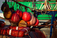 Details of fishing boats  in Essaouira harbor Stock Image