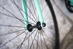 Details of fixed bike. Green bike royalty free stock photos