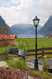 Details of the fjord farm. The latern as a detail of the farm on fjord shore royalty free stock images