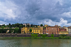 Details of Florence architecture along banks of river Arno, Tuscany Stock Images