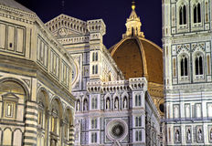 Details of the Florence Cathedral at night. Illuminated Florence cathedral at night, Tuscany, Italy Royalty Free Stock Images