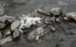 Details of Flowing river water and Ice Royalty Free Stock Images