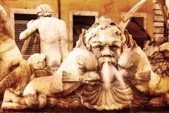 Details of fontana del Moro (the Moor Fountain). Roma. Italy. Royalty Free Stock Image