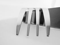 Details of fork. A closeup, abstract view of a fork. Selective focus used Royalty Free Stock Photo
