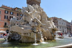 Details of the Fountain of the four Rivers in Rome Stock Photo