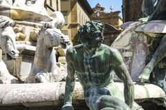 The Fountain of Neptune in a summer day in Florence, Italy Royalty Free Stock Photos