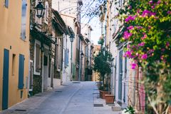 Details of French Provencal architecture, narrow streets in Sain stock photography