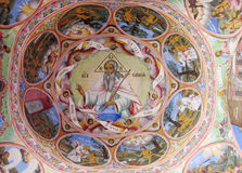 Details of a fresco and Orthodox icon painting in Rila Monastery church in Bulgaria Stock Photo