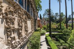 Gardens Of Real Alcazar Of Seville Andalucia, Spain stock images