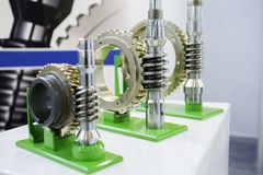 Details of the gear train. Elevator reducer. The work of the gear train is clearly shown Royalty Free Stock Photography