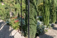 Generalife`s Gardens Of Granada, Andalucia Spain. Details Of Generalife`s Gardens Of Granada, Flowers And Trees Royalty Free Stock Images