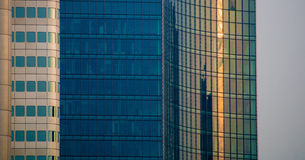 Details of glass facades of business buildings in Frankfurt, Germany Royalty Free Stock Images