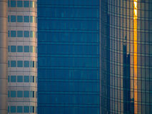 Details of glass facades of dynamic business buildings in Frankf Stock Photo