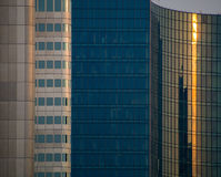Details of glass facades of dynamic business buildings, Frankfurt Stock Photo