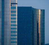 Details of glass facades of dynamic business buildings, Frankfurtkf Royalty Free Stock Images