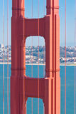 Details of Golden Gate Bridge  with San Francisco in the backgro Royalty Free Stock Images