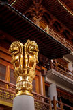 Details of golden Lions on Buddhist Jing An Tranquility Temple - Shanghai, China Royalty Free Stock Photography