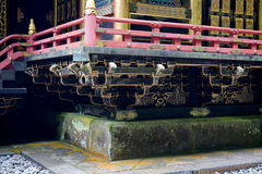 Details of a golden Toshogu complex in the town of Nikko, Japan, with both Shinto and Buddhist elements and wooden carvings Royalty Free Stock Image
