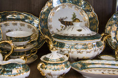 Details of green elegant   tableware Stock Image