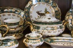 Details of green elegant   tableware Stock Image