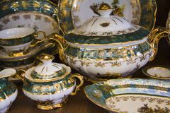 Details of green  tableware Stock Photography