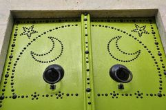 Details of Green Tunisian door, diverse colour Royalty Free Stock Images