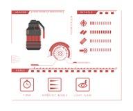 Details of gun: grenade. Game perks. Virtual reality weapon. Vector illustration Royalty Free Stock Photo