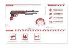 Details of gun: shotgun. Game perks. Virtual reality weapon. Vector illustration Stock Image